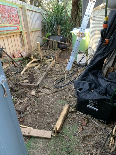 Preparing the garden shed space