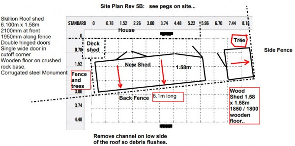 Garden shed tight space site plan design