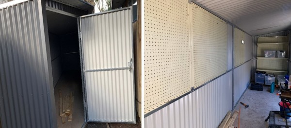 Completed custom design and installation for garden shed
